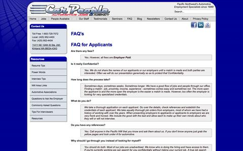 Screenshot of FAQ Page carpeople.com - Car People - FAQ - captured Oct. 1, 2014