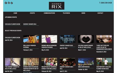 Screenshot of Press Page debbierix.com - News     Debbie Rix - captured Oct. 5, 2014