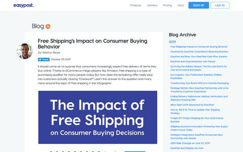 Screenshot of Blog easypost.com - Free Shipping's Impact on Consumer Buying Behavior - EasyPost - captured Oct. 11, 2019