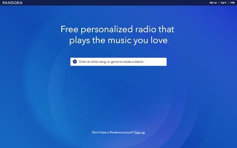Screenshot of Home Page pandora.com - Pandora Internet Radio - Listen to Free Music You'll Love - captured Aug. 31, 2016