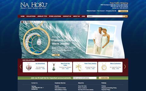 Screenshot of Home Page nahoku.com - Na Hoku - Hawaiian Slipper, Sandal, Flip Flop Pendant and Palm Tree Jewelry - captured Sept. 22, 2014