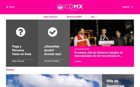 Screenshot of Home Page df.gob.mx - Gobierno del Distrito Federal - captured Nov. 11, 2015