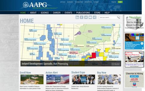 Screenshot of Home Page Menu Page aapg.org - AAPG > Home - captured Sept. 19, 2014
