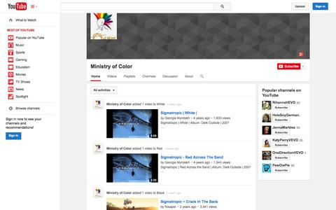 Screenshot of YouTube Page youtube.com - Ministry of Color  - YouTube - captured Nov. 5, 2014