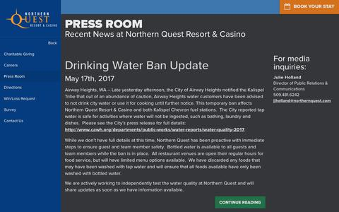 Screenshot of Press Page northernquest.com - Spokane Hotel, Casino, Spa, Dining & Entertainment | Northern Quest Resort & Casino - captured July 1, 2017