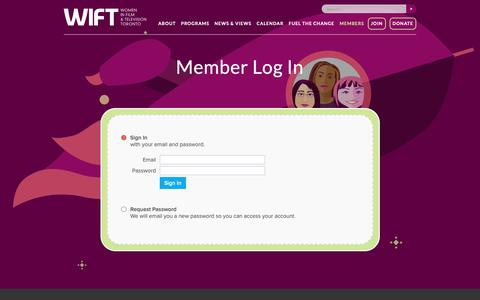 Screenshot of Login Page wift.com - Member Log In - captured Oct. 19, 2018