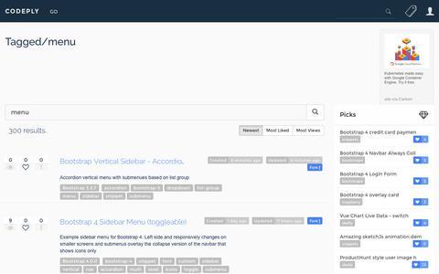 Screenshot of Menu Page codeply.com - Menu examples and snippets - captured Feb. 8, 2018