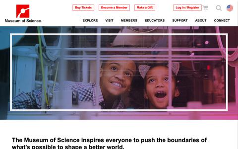 Screenshot of Support Page mos.org - Support | Museum of Science, Boston - captured May 5, 2019
