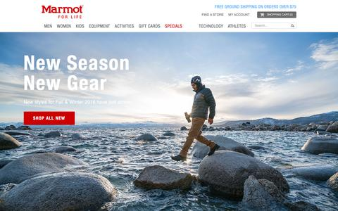 Screenshot of Home Page marmot.com - Marmot | The Official Site | Marmot Clothing and Equipment - captured Sept. 22, 2016