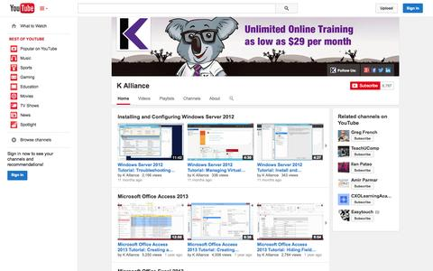 Screenshot of YouTube Page youtube.com - K Alliance  - YouTube - captured Oct. 22, 2014