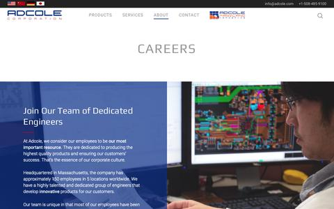 Screenshot of Jobs Page adcole.com - Careers - Adcole Corporation - captured Oct. 3, 2018