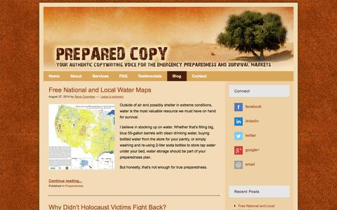 Screenshot of Blog preparedcopy.com - Preparedness & Survival Blog by Steve Coombes - captured Sept. 19, 2014
