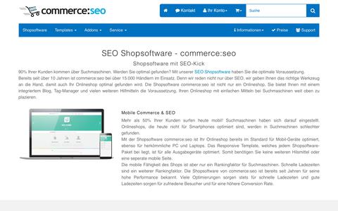 Screenshot of Home Page commerce-seo.de - Shopsoftware - SEO Onlineshop Software - Webshop - Shop - captured Sept. 23, 2018