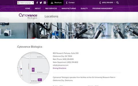 Screenshot of Locations Page cytovance.com - Locations - Cytovance Biologics - captured Sept. 30, 2018