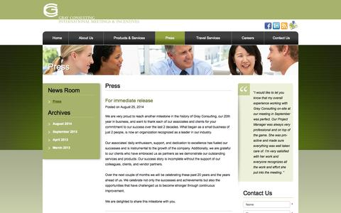 Screenshot of Press Page gcimi.com - Press Archives - Gray Consulting, Inc. - captured Oct. 1, 2014