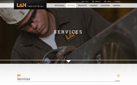 Screenshot of Services Page lnh.net - Services | L&H Industrial - captured Sept. 25, 2018