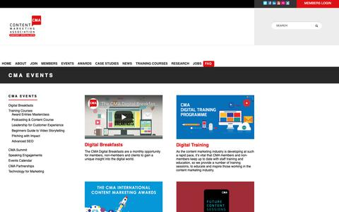 Screenshot of FAQ Page the-cma.com - Events - The Content Marketing Association - The CMA - captured Dec. 12, 2018