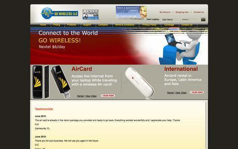 Screenshot of Testimonials Page aircardrental.com captured Oct. 3, 2014