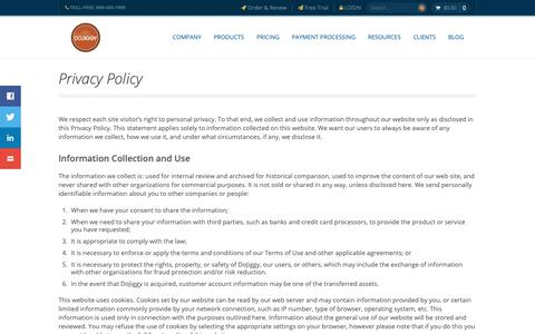 Screenshot of Privacy Page dojiggy.com - Privacy Policy | DoJiggy Nonprofit Software - captured Nov. 14, 2018