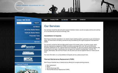 Screenshot of Services Page multitorque.com - Our Services :: Multi Torque Industries - Engine Starting Specialist - Perth - captured Oct. 6, 2014