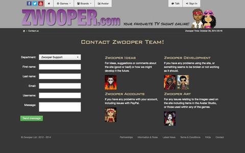 Screenshot of Contact Page zwooper.com - Contact us - zwooper.com - captured Oct. 26, 2014