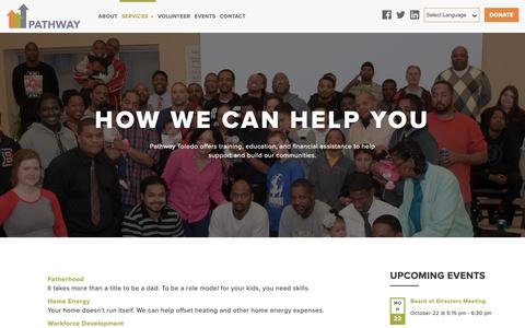 Screenshot of Services Page pathwaytoledo.org - services - Pathway - captured Oct. 21, 2018