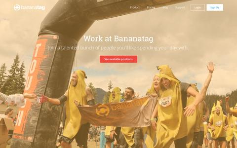 Screenshot of Jobs Page bananatag.com - Careers at Bananatag Kelowna and Vancouver | Bananatag - captured Aug. 27, 2016