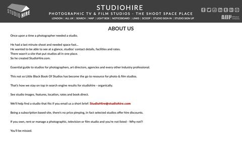 Screenshot of About Page studiohire.com - STUDIOHIRE - About Us - captured Oct. 1, 2018