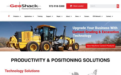 Screenshot of Home Page geoshack.com - home - GeoShack - North America's Largest Topcon Dealer - captured Aug. 21, 2019