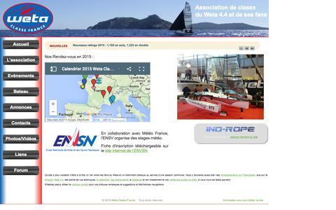 Screenshot of Home Page wetaclassefrance.com - Weta Classe France - Trimaran transportable Weta 4.4 - captured Oct. 14, 2015