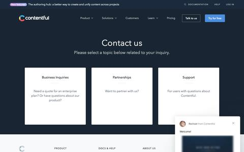 Screenshot of Contact Page contentful.com - Contact us | Contentful - captured May 21, 2019