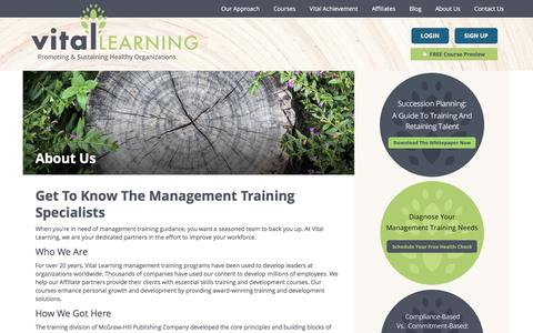 Screenshot of About Page vital-learning.com - Management Training Program Provider | Vital Learning - captured Feb. 25, 2016