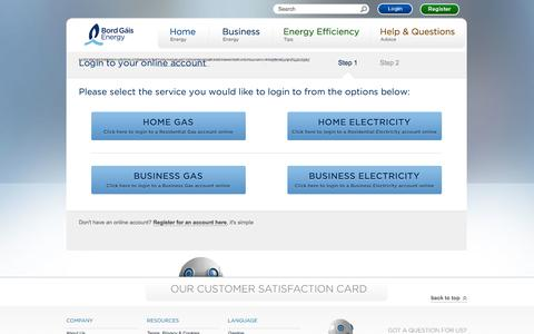 Screenshot of Login Page bordgaisenergy.ie - Bord Gáis Energy - Login to your online account - captured Sept. 23, 2014