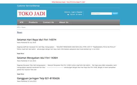 Screenshot of Press Page tokojadi.net - Berita terkini tentang kegiatan Toko - captured Aug. 18, 2016