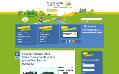 Screenshot of Blog alec27.fr - Le blog Énergie-Climat de l'EureLe Blog Energie-Climat de l'Eure | Le blog de Agence Locale de l'Energie et du Climat de l'Eure : événements, actualités, trucs et astuces - captured Oct. 1, 2014