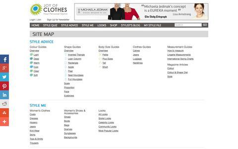 Screenshot of Site Map Page joyofclothes.com - Site Map | Joy of Clothes - captured Sept. 19, 2014