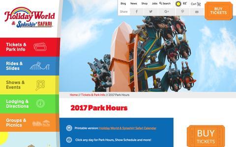 Screenshot of Hours Page holidayworld.com - Park Hours 2017 | Holiday World & Splashin' Safari - captured Nov. 10, 2016