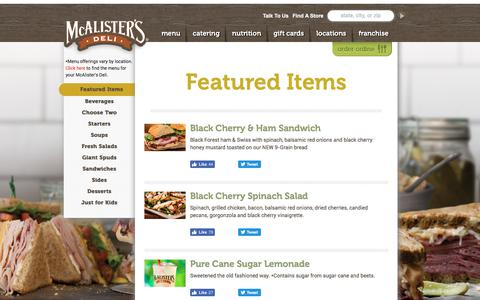 Screenshot of Menu Page mcalistersdeli.com - Featured Items | Menu | McAlister's Deli - captured June 10, 2017