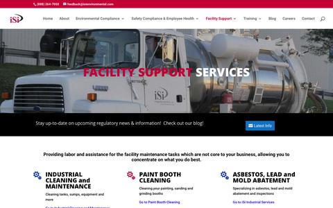 Screenshot of Services Page isienvironmental.com - Industrial Cleaning and Facility Maintenance Support Services - captured Feb. 5, 2018