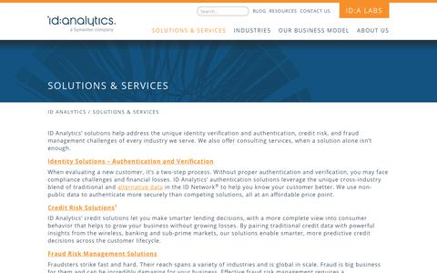 Screenshot of Services Page idanalytics.com - SOLUTIONS & SERVICES – ID Analytics - captured June 10, 2019