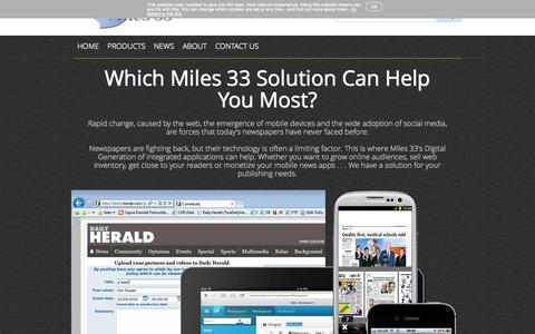 Screenshot of Products Page miles33.com - Editorial, advertising and mobile Content Management - captured Nov. 23, 2015