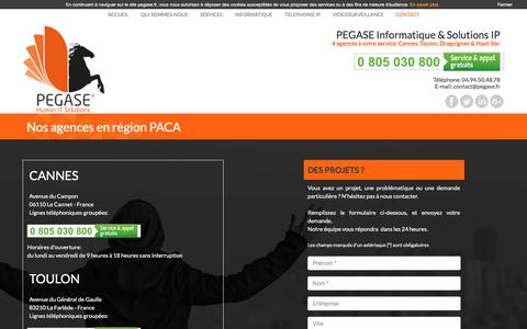 Screenshot of Contact Page pegase.fr - PEGASE Informatique & Solutions IP | Nos agences en région PACA - captured July 8, 2017