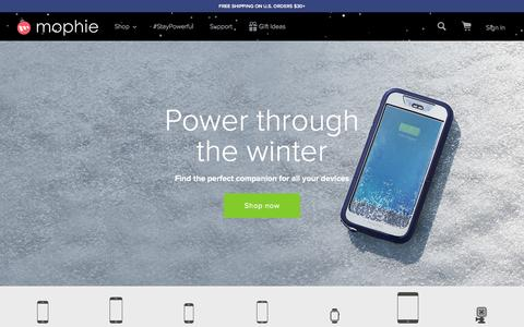 Screenshot of Home Page mophie.com - mophie Battery Phone Cases & More - Free Shipping | mophie - captured Jan. 4, 2016