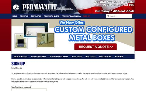 Screenshot of Signup Page perma-vault.com - Sign Up - PermaVault Safe Company - captured Jan. 27, 2016