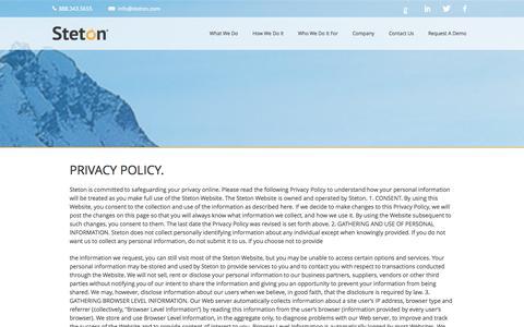 Screenshot of Privacy Page steton.com - Steton Privacy - captured Sept. 19, 2014
