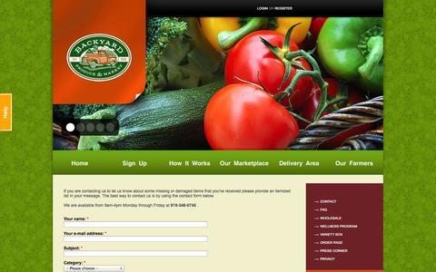 Screenshot of Contact Page byproduce.com - Contact | Backyard Produce - captured Oct. 1, 2014