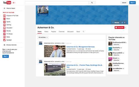 Screenshot of YouTube Page youtube.com - Ackerman & Co.  - YouTube - captured Oct. 23, 2014