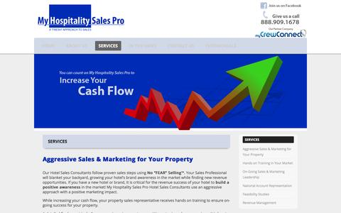 Screenshot of Services Page myhospitalitysalespro.com - Services   My Hospitality Sales Pro - captured Feb. 22, 2016