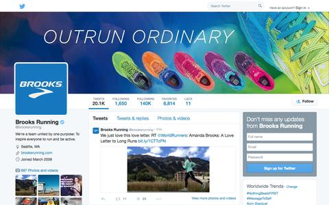 Screenshot of Twitter Page twitter.com - Brooks Running (@brooksrunning) | Twitter - captured Oct. 23, 2014