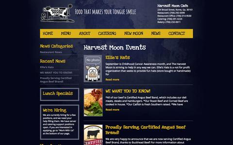 Screenshot of Press Page myharvestmooncafe.com - Harvest Moon Cafe | News updates | Downtown Rome, Ga. Restaurant and Bar | Special Event Catering - captured Oct. 2, 2014
